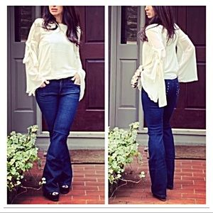 Denim - Dark jean great fitting flare jeans